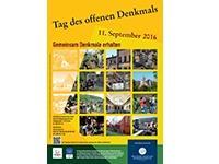 Gelbes Plakat mit vielen Einzelaufnahmen von Bauwerken in Erlangen