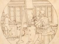 Maler sitzt in seiner werkstatt vor seiner Leinwand und malt ein Modell
