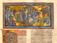 Gumbertusbibel, Regum Liber 2 (Samuel 2), Bl. 95r Initiale F(ACTUM EST) Miniatur: Das Leben Absaloms