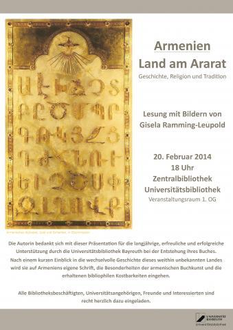 Plakat zur Lesung Armenien - Land am Ararat