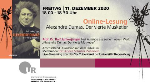 Online-Lesung Alexandre Dumas. Der vierte Musketier