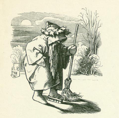 Herr Winter beim Glätten des Eises