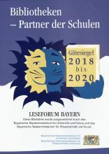 """Logo des Gütesiegels """"Bibliotheken - Partner der Schulen"""""""