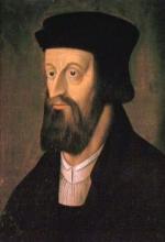 Porträt von Jan Hus: Kopf eines mittelalten Mannes mit schwarzer Kopfbedeckung