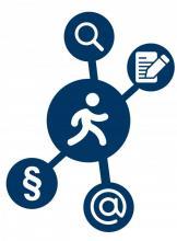 Ein Strichmännchen, das den Informationssuchenden darstellt, inmitten von Symbolen, die Hilfe bei der Recherche, beim Publizieren, beim Urheber-, Lizenz- und Verlagsrecht sowie Wissenschaftlichem Arbeiten und Vernetzen anbieten