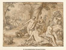 Zeichnung in schwarz-weiß, die badende Frauen zeigt
