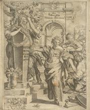 Graphik einer Gartenszene aus dem 18. Jahrhundert