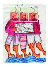 """Künstlerbrief """"Einladung zum Wassertreten"""" von Liesel Metten"""